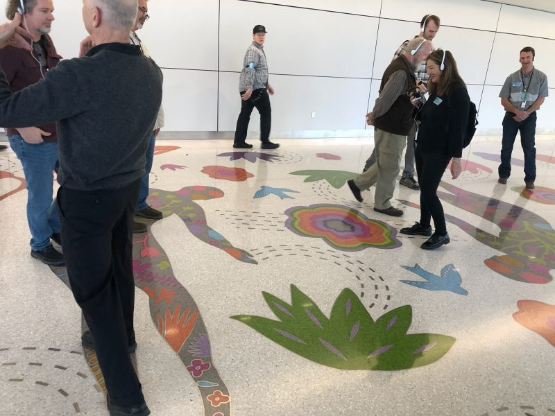 Artist Teresa Villegas talking about her terrazzo floor design