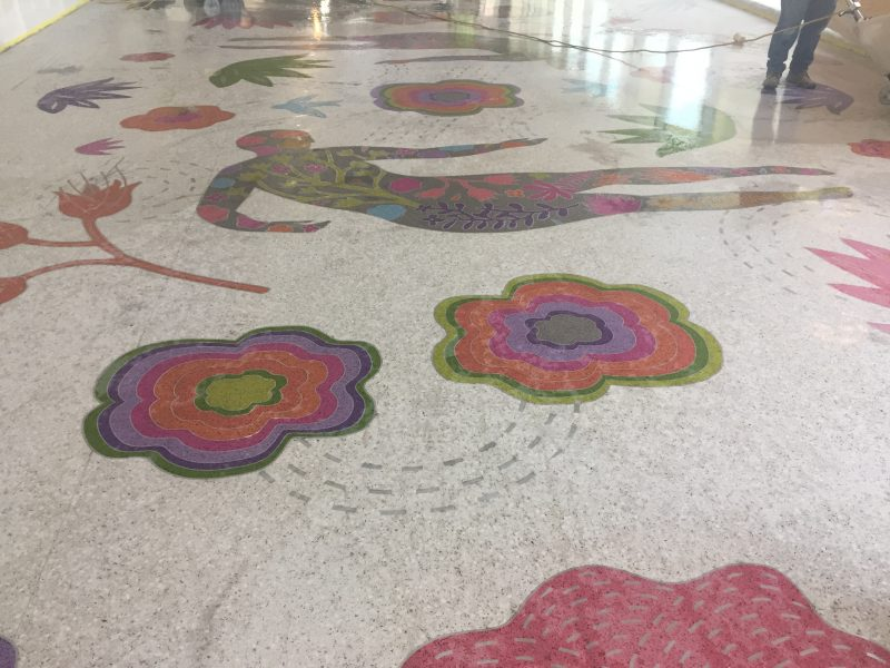 Polishing of terrazzo floor begins