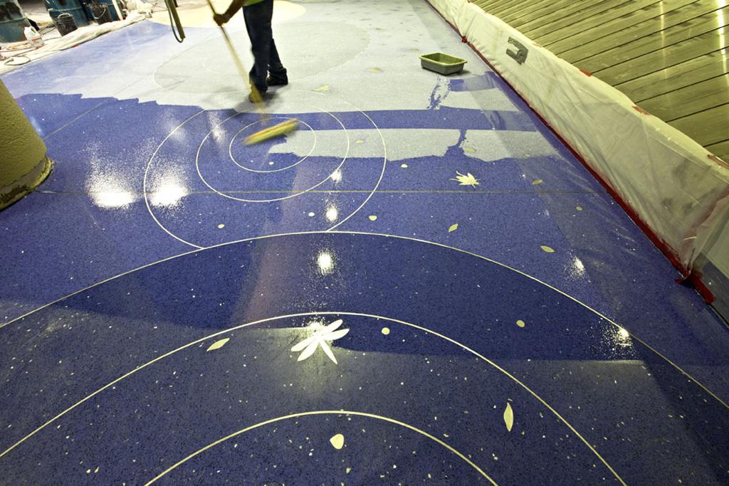 "Process Terrazzo Floor design ""Desert Rain"" by artist Teresa Villegas"