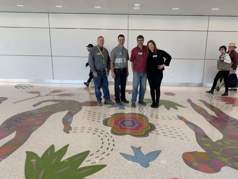 Terrazzo Floor Crew: Andy and Kevin from Stone Finish, Ed from Marzee, Artist Teresa Villegas