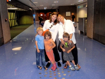 Artist Teresa Villegas with her 3 children and friend Coreen Cordova. Photo by her husband Bernard Villegas